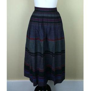Vintage 90s Purple Stripe Midi Skirt Size S
